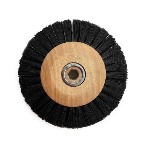 Circular brush black silk 70 mm wood frame