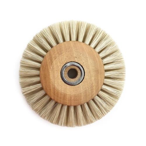 Circular brush white silk 70 mm wood frame