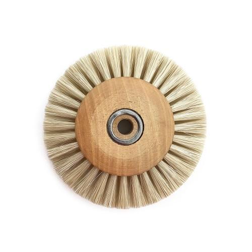 Circular brush white silk 60 mm wood frame