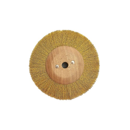 Circular brush corrugated brass 80 mm wood mount