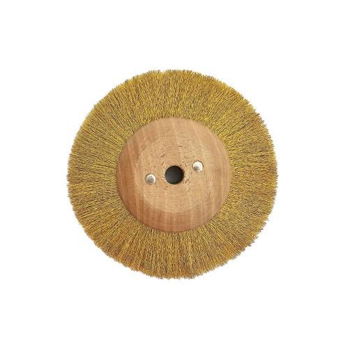 Brosse circulaire laiton ondulé 100 mm monture bois