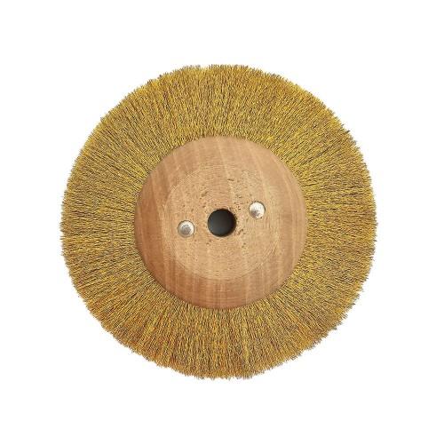 Brosse circulaire laiton ondulé 120 mm monture bois