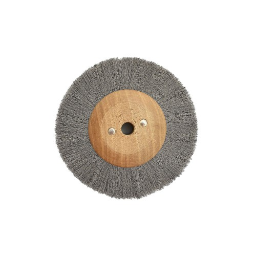 Brosse circulaire acier ondulé 80 mm monture bois