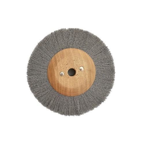 Brosse circulaire acier ondulé 100 mm monture bois