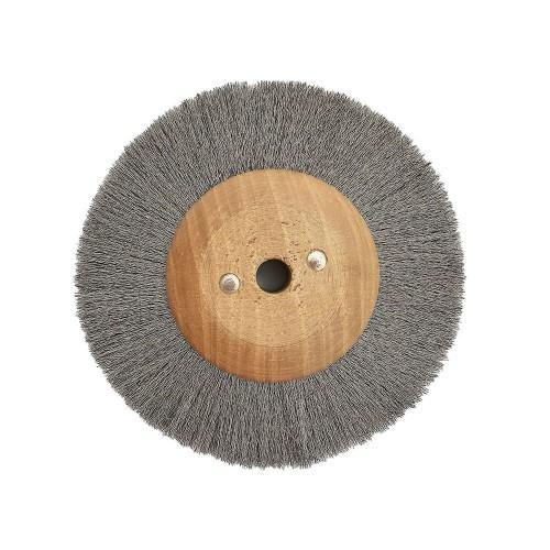 Brosse circulaire acier ondulé 120 mm monture bois