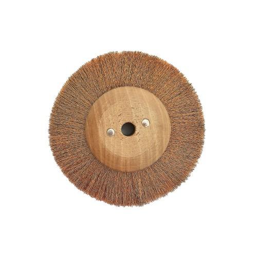 Brosse circulaire bronze ondulé 100 mm monture bois