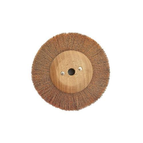 Brosse circulaire bronze ondulé 80 mm monture bois