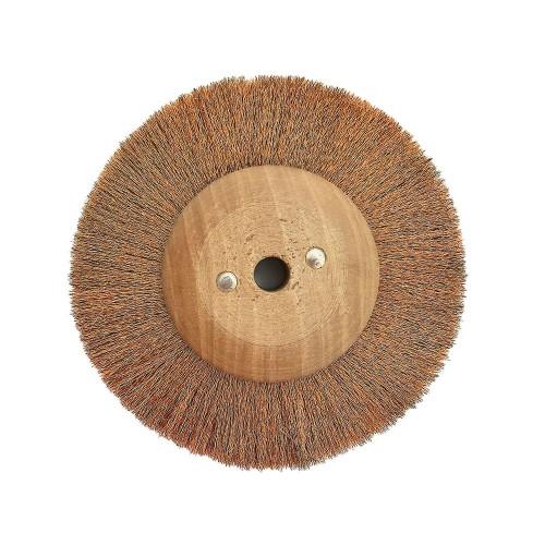 Brosse circulaire bronze ondulé 120 mm monture bois